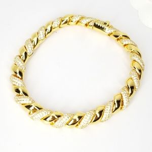 NWT 18K Gold Rope Chain Micro Pave CZ Bracelet